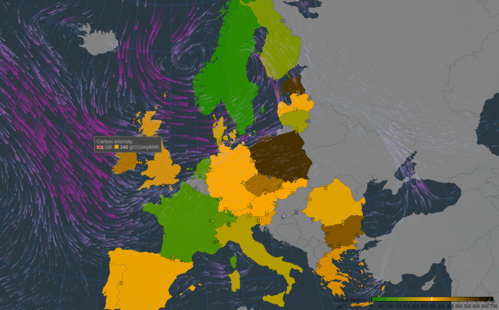 Live CO2 Emissions of European Electricity Consumption Map
