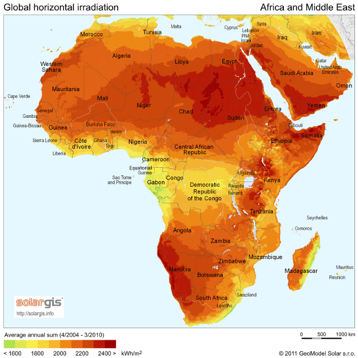 Solar Energy Potential Map of Africa and Middle East
