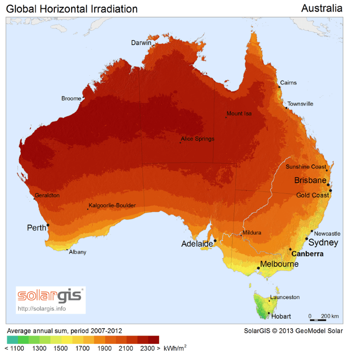 Solar Energy Potential Map of Australia