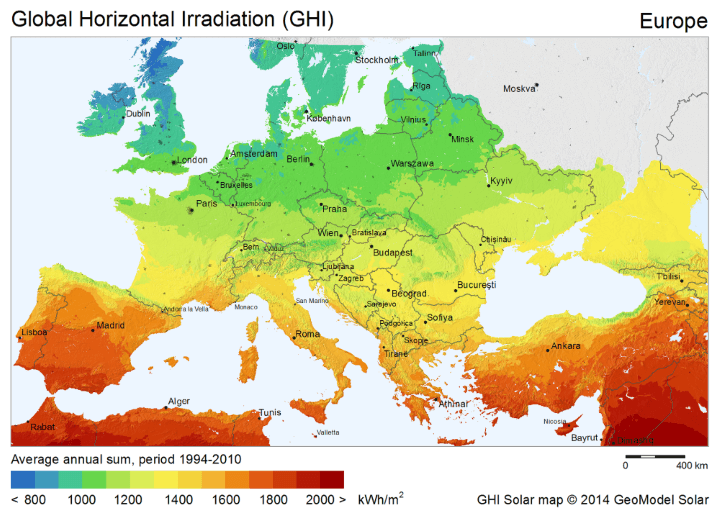 Solar Energy Potential Map of Europe