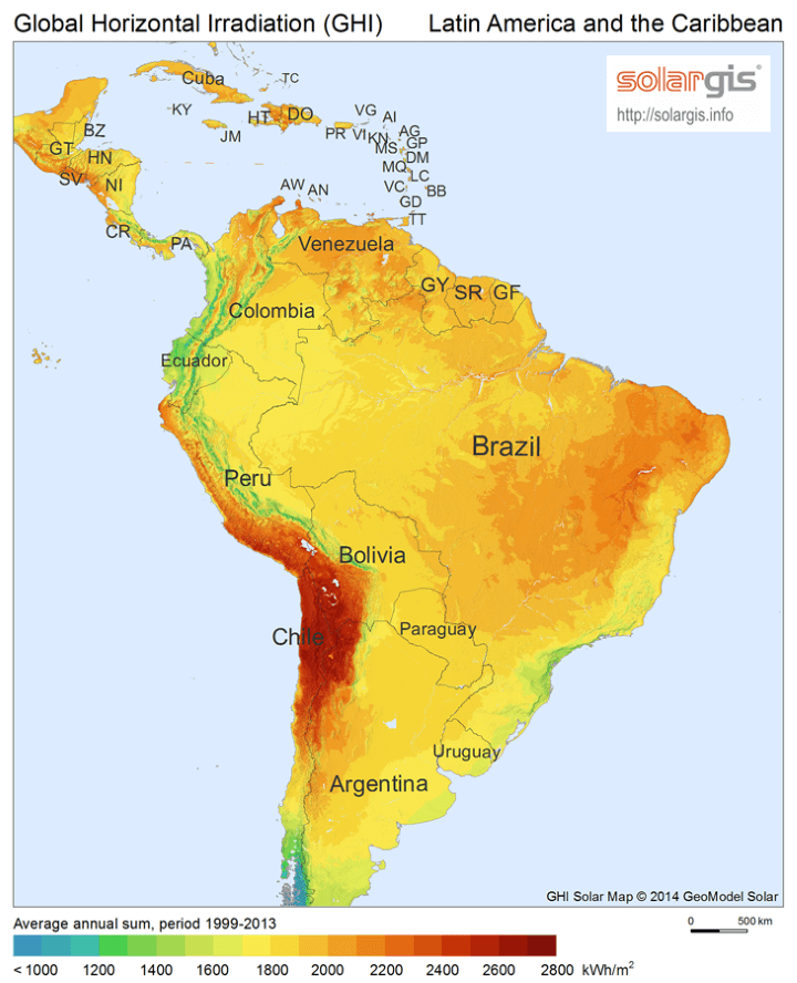 Solar Energy Potential Map of Central and South America