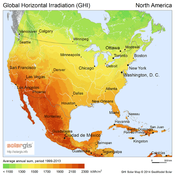Solar Energy Potential Map of North America
