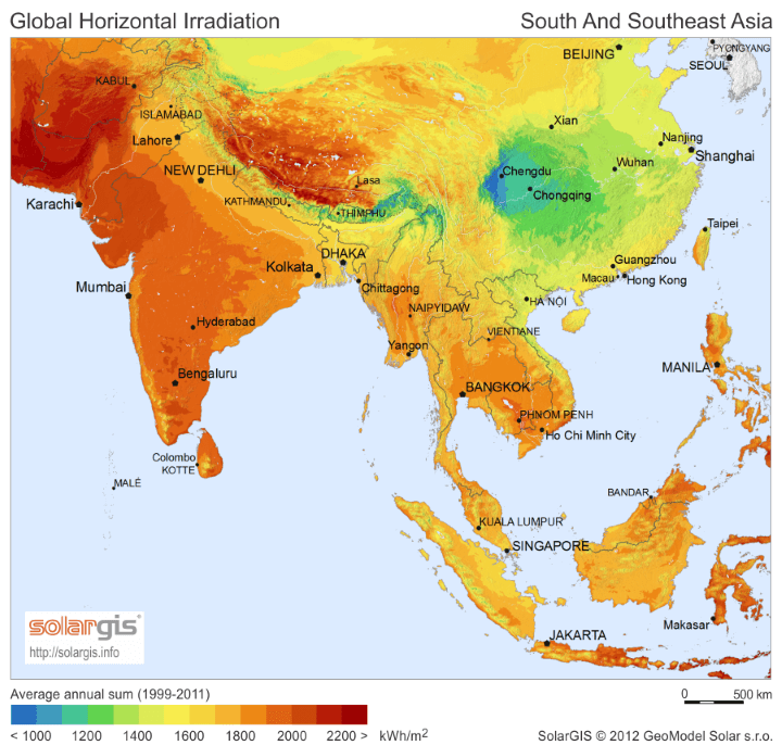 Solar Energy Potential Map of Asia