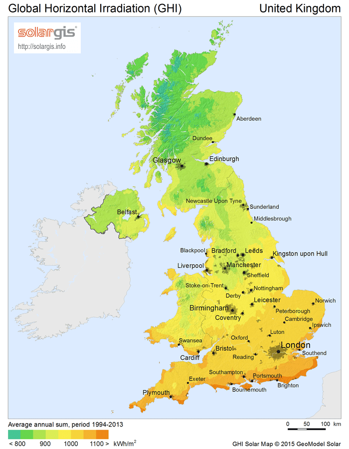 Solar Pv Energy Potential Map Of The Uk