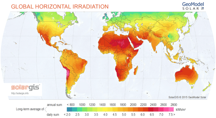 World Solar Energy Potential Map
