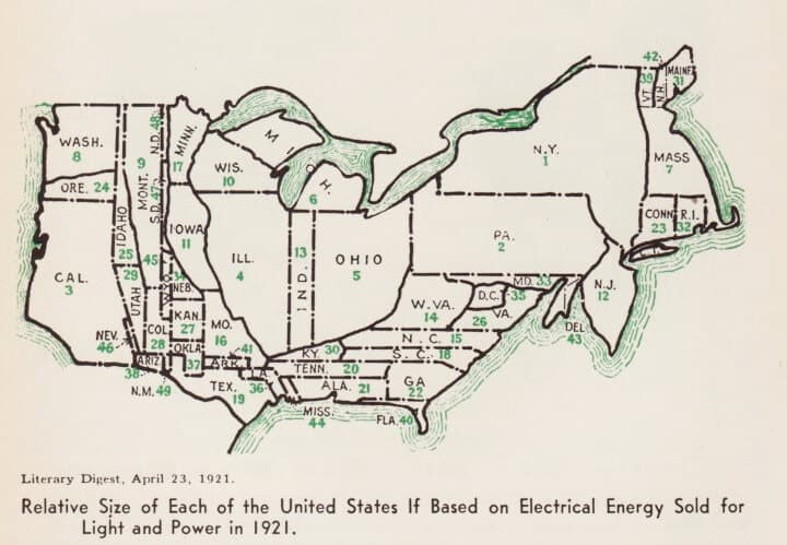 Relative Size Of Each US State Based On Electricity Sold For Light & Power In 1921