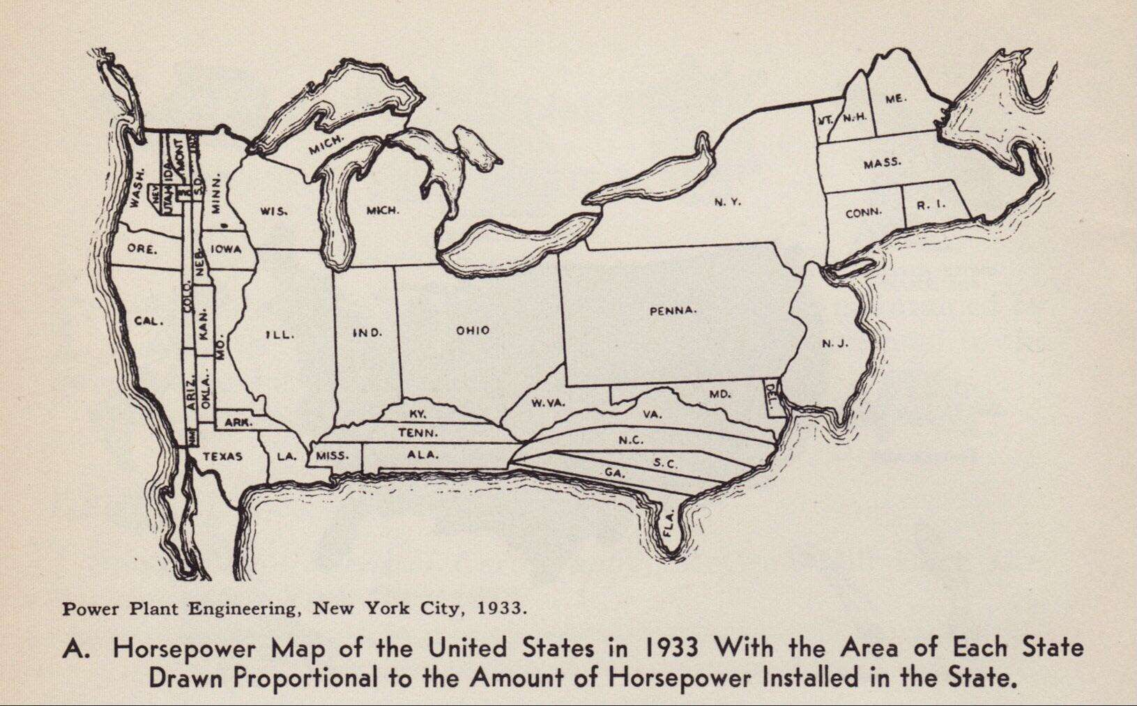 Map Showing The Industrial Power Of Each US State In 1933