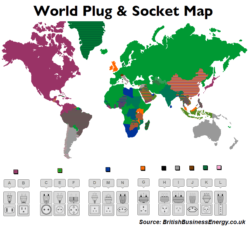 World Electrical Plug Amp Socket Map