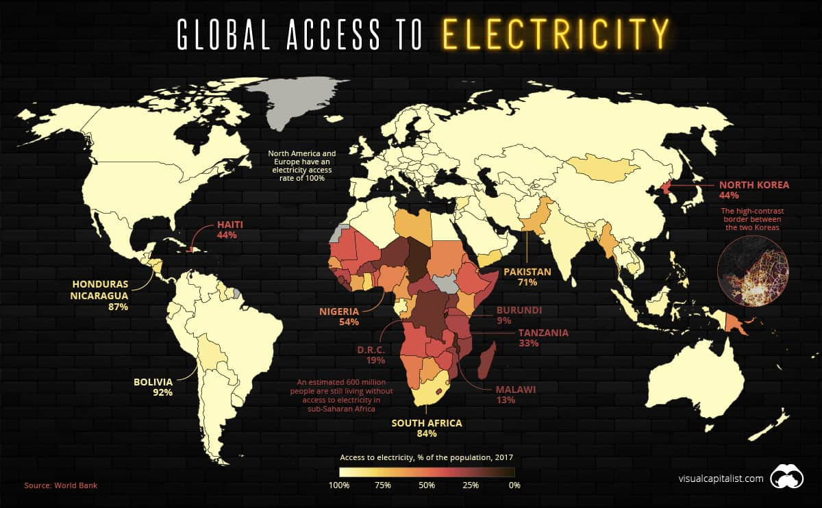 Map Of The 1.2 Billion People Without Access to Electricity