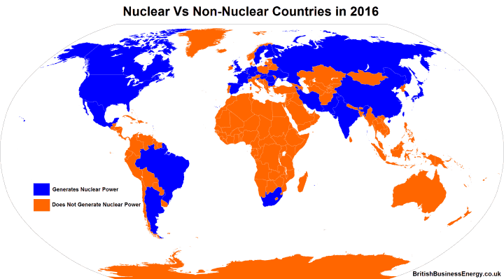 Countries that have and do not have a commercial nuclear energy industry