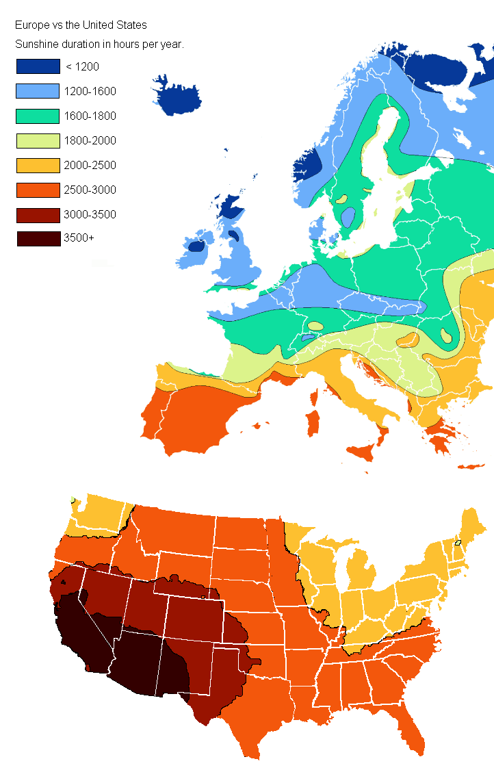 Europe vs United States Sunshine Duration In Hours Per Year