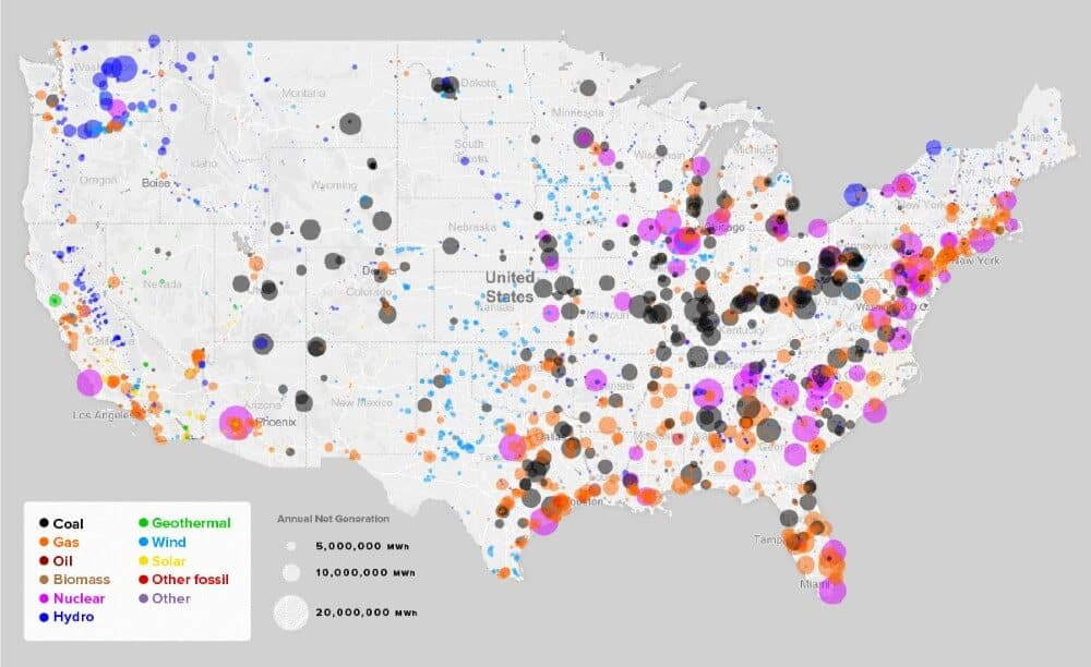 Every Major Power Station In The US By Energy Source